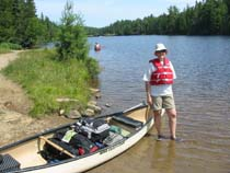 Jen at end of the first portage