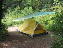 Our tent with tarp